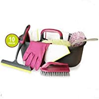 A2Z Home Solutions® Cleaning Caddy Set 10 Pieces Perfect for Home Care and Cleaning Mop, Duster, Gloves, Squeegee
