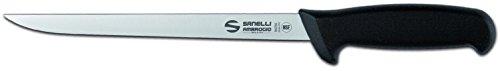 Sanelli Ambrogio Supra Coltello Filettare Flessibile 22 cm, Acciaio Inossidabile, Acciaio/Nero, 42 x 6 x 3