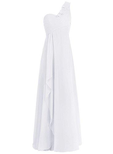 Bbonlinedress Robe de cérémonie et de demoiselle d'honneur A-line Plissée Une épaule avec la fente longueur ras du sol en mousseline Ivoire