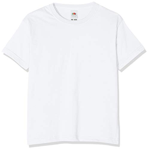 Fruit of the Loom Jungen T-Shirt, Weiß, 7-8 Jahre (128) (T-shirt Weiße 70)