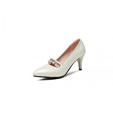 Les talons des femmes Printemps Automne Bureau similicuir Confort & Carrière Partie & Robe de Soirée Talon Imitation Pearl Noir Vert Rose Blanc White