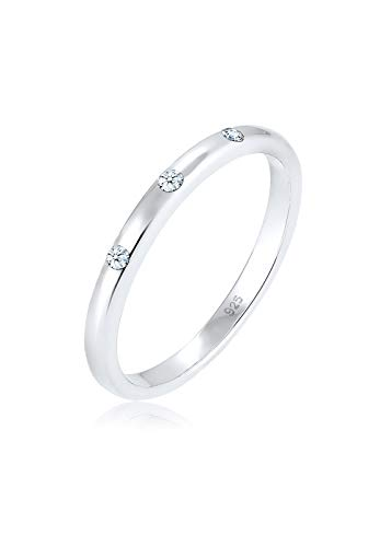 Diamore Ring Damen Bandring mit Diamant (0.06 ct) in 925 Sterling Silber