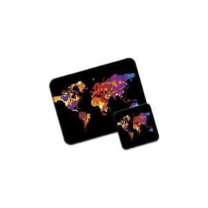 De salpicaduras de pintura Premium de alfombrilla de ratón de mapa del mundo y juego de posavasos de