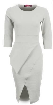 Sapphire femmes texturé Bodycon à manches 3/4 Motif bureau-Robe péplum Femme Ivoire