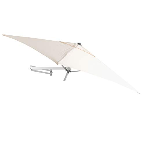 Easysol Wandschirm Sonnenschirm Wandtattoo 200x 200cm–AMPELSCHIRM neigbar mit Wandhalterung–Sonnenschirm quadratisch, alu