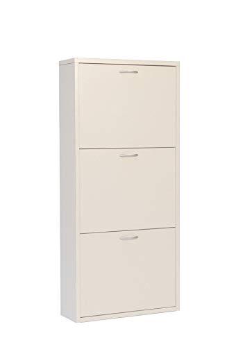 Valdomo small 3 scarpiera a 3 ante, legno, bianco, 50x17x110 cm