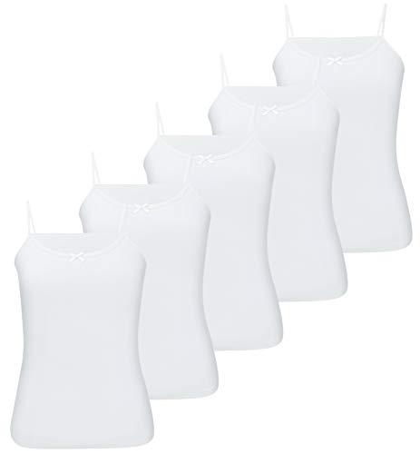 5er Pack Mädchen Unterhemd mit Schleife 100% Baumwolle Tank Top Kinder Unterwäsche Girl Shirt (92-98 (2-3Jahre), Modell 1-5 STÜCK) - Mädchen Unterhemd
