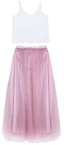 Agoky Damen sexy Maxikleid Abendkleid lang Partykleider Ballkleid Träger Top Elegant Bluse Shirt und 3 Layer Tüllrock Festkleider Dusty Rose 34 -