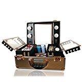 Kemier Makeup Train Case - Kosmetischer Organizer Makeup Case mit Licht und Spiegel/Makeup Case mit individuellen Teiler