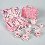 Zauberhaftes Mini Picknick Set 'Tupfen' in einem rosa Körbchen, 17-teilig