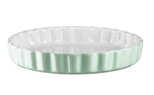 Mäser 931142 Serie Kitchen Time, Tarteform, Quicheform, runde Backform, kratz- und schnittfest, Ø 27 cm, Keramik, Grün
