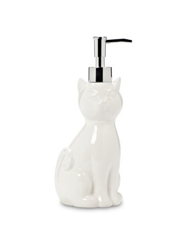 White 8' Ceramic Cat Kitten Spa Bathroom Soap Pump Lotion Dispenser by American Chateau