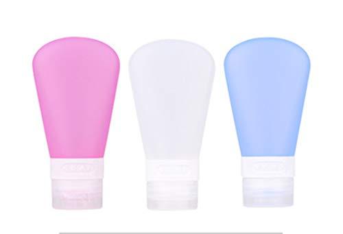 Körper Milch Set (EXQUILEG 3xSilikon Reise Flaschen Set Auslaufsicher,Tragbare Reise Behälter Ausflaufsichere Flaschen (60ml Mehrfarbig) (B))