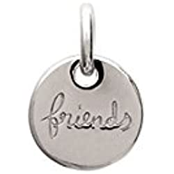 """TATA GISELE © Pendentif en Argent 925/000 Rhodié - Médaille Ronde - Inscription """"Friends"""" - 13 mm"""