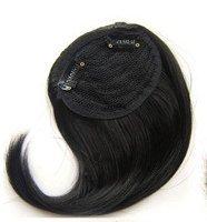 Farbe Menschlichen Haar Perücke (FELICIGG Echtes menschliches Haar Pony erweiterte Stück schrägen Pony Form und Perücken mit Mehreren Farbauswahl (Farbe : Schwarz))