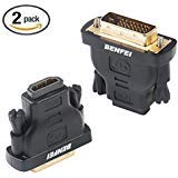 DVI to HDMI, Benfei Bidirectional DVI (DVI-D) to HDMI Male to Female Adapter with Gold-Plated Cord 2 Pack