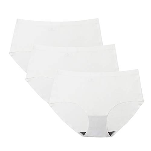 HanDingSM Damen Unterhosen Slips Panty Hipster Set, 3Pack Damen Unterwäsche Nahtlos Bequem Atmungsaktive Frauen Panties Hipster (3 weiß, EU-L (Tag Size:2XL)) - Hipster Slips