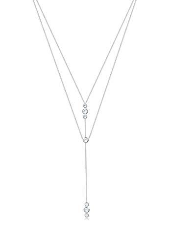 Elli Halskette Y-Kette Geo Layer Swarovski® Kristalle 925 Silber