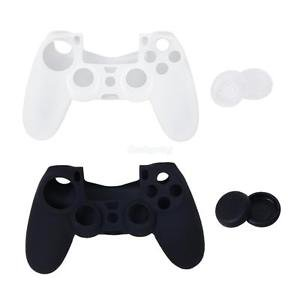 Alcoa Prime 4 x Joystick Caps + 2pcs Protective Skin Case Cover for Sony 4 PS4 Controller