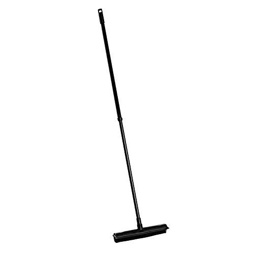 Teleskopstiel Besen mit Gummiborsten und Abzieher - von 74-130 cm ausziehbar, schwarz, Metall/Kunststoff, Stückzahl:2 Stück