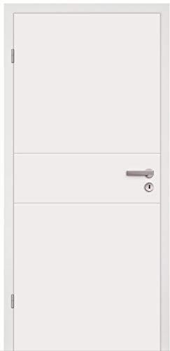 HORI® Zimmertür Komplettset mit Zarge und Türdrücker I Innentür weiß lackiert mit 2 Querstreifen I Höhe 198,5 cm I Anschlag, Breite und Wandstärke wählbar I DIN links I 1985 x 860 x 280 mm