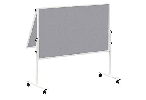 MAUL Moderationstafel Solid 150 x 120cm, Mehrzwecktafel mit Filz Oberfläche, Klappbar, Mit Stellfüßen, Inklusive Rollensatz (4 Rollen), Grau, 6366682, 1 Stück