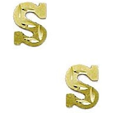 14K Giallo Oro Iniziale S Stamping–Orecchini Bambini Misure 6x 5mm - 14k Iniziali Orecchini