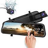 junsun Spiegel Dashcam Rückfahrkamera 25,4 cm (10 Zoll) Touchscreen 1080P Stream Media Dual Lens Full HD Rückfahrkamera 170 Grad Weitwinkel mit Rückfahrkamera G-Sensor Parkmonitor