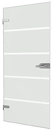 """inova Glas-Drehtür 834x1972x8mm Blockstreifen-Glas DIN Links + Studio-Beschlag """"03"""" Komplettset Echtglas Glastür Wohnungstür"""