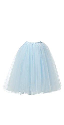 Honeystore Damen's Lang Ballet Petticoat Abschlussball Party Zubehör Tutu Unterkleid Rock Hellblau - Romeo Und Julia Kostüm Kinder