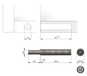 Loqueteau pousse lâche à encastrer renforcé - Décor:Gris - Sortie piston:20 mm - ITALIANA FERRAMENTA