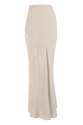 Fischschwanz-saum Rock (Ladies Designer Modest - Langer, langer, hoher Taillen-Saum mit Fischschwanz Maxi-Rock mit V-Ausschnitt - Weiche Creme - (Size = L))