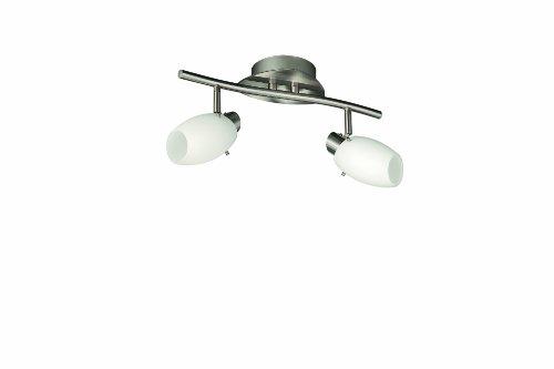 Massive 509921710 Usagi Barra Spot 2 Luci, Acciaio Spazzolato e Vetro Satinato, Bianco
