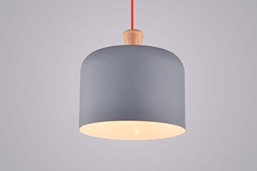 CAGUSTO Pendelleuchte Torp Grau Metall Schirm Stoffkabel Rot Modern Design Hängeleuchte