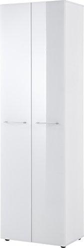 Germania Garderobenschrank 3764-84 GW-SCALEA in Weiß mit Glasfront, 59 x 197 x 40 cm (BxHxT)