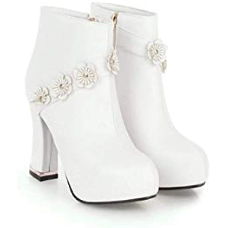 HBDLH Chaussures pour Femmes L'Automne Et Les l'hiver Les Et Bottes Agrave; Talons DE 10 Cm De Douces Fleurs Peu Rugueuse - B07J4SNZX9 - 2cc164