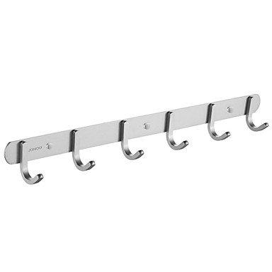 miaoge® Badezimmer Aluminium Handtuchhalter/Rack mit 6Haken Wandhalterung (Wand-montage 6 Haken Coat Rack)