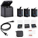 TELESIN Triple Charger Battery Set-Charging Box + 3 baterías con estuches de almacenamiento, cubierta de lente de la cámara, y lente Film 6 en 1 Kit de accesorios para GoPro Hero 6/Hero 5