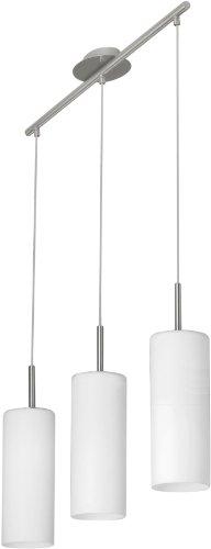 Eglo 85978- Lampadario a sospensione modello Troy 3, a 3 luci, in acciaio opaco e vetro satinato, HV 3 x E27 max. 60 W, lampadine non incluse, 72 x 10,5 x 110 cm