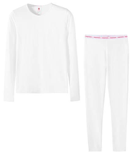 LAPASA Mädchen Innenfleece Thermounterwäsche Set Thermounterhemden Thermo-Unterhosen Ski Funktionsunterwäsche für Winter G03 (6 Jahre (S), Weiß) MEHRWEG