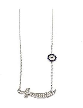 925 SILBER Halskette Kette + Anhänger 'Zülfikar' oder 'Schwert' - Zirkonia Strass - Nazar Auge - Ali Aleviten