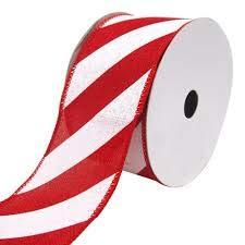 Celebrate it Weihnachtsband mit Draht, diagonale Streifen, 8,9 cm, Weiß/Rot -