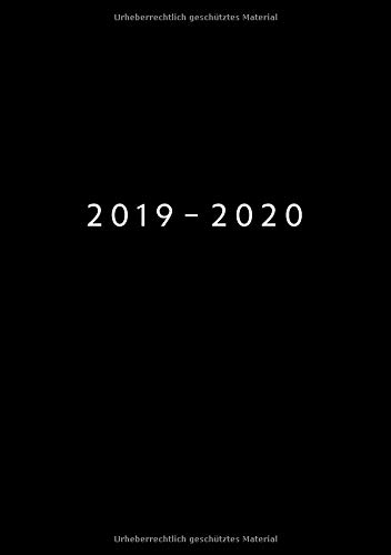 2019 - 2020: 1 Woche auf 2 Seiten | Wochenplaner ab KW22 | Juni 2019 bis Mai 2020 Kalender | Größe A5 | 52 Wochen Terminkalender Planer | Schwarz (Für Tag-planer Eine Woche)