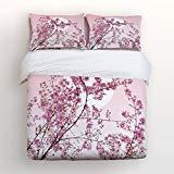Vandarllin Japanische Kirschblüten 4-teiliges Bettwäscheset mit rosa Blumen bedrucktes Bettbezug-Set dekorative Tagesdecke für Kinder Jugendliche Erwachsene Full Pink02