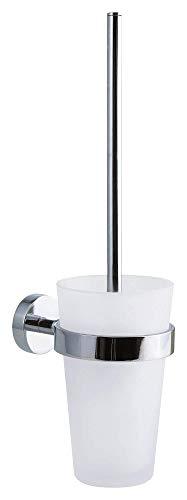 tesa SMOOZ Toilettenbürste - Hochwertige WC-Bürste im Set mit satiniertem Glasbehälter zur Wandmontage - Inklusive Klebelösung ohne Bohren