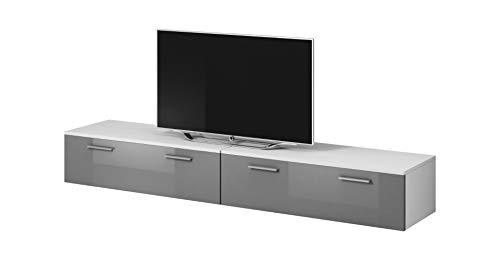 E-Com TV Möbel Lowboard Schrank Ständer Boston Korpus weiß/Front Grau Hochglanz 200 cm