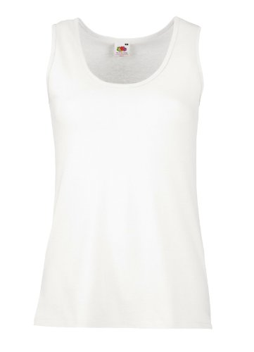 Fruit Of The Loom 61376 Womens Sleeveless Ladies Lady-Fit Valueweight Vest Tank Top - White - Small (Fruit Of The Loom Tank Damen)