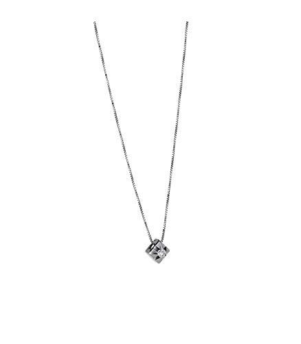 Gioielli di Valenza Collana Punto Luce a Griffe in Oro Bianco 18k con Diamante