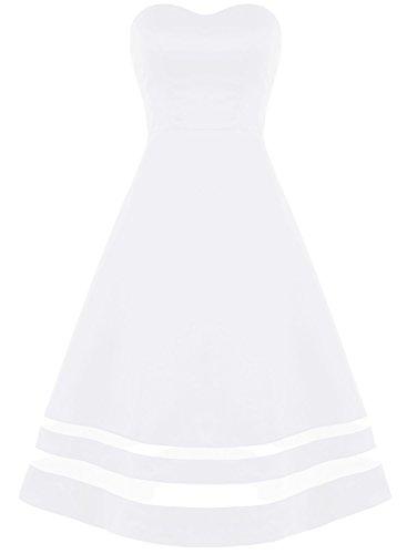 Bbonlinedress Robe de Soirée et Cérémonie de bandeau A-Line sans bretelle sans manches en satin Blanc