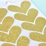 24 Größere funkelnde Goldene Glitzer-Herzen-Aufkleber zum Dekorieren und Basteln